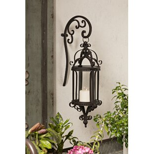 Hattie Wrought Iron And Gl Hanging Wall Lantern