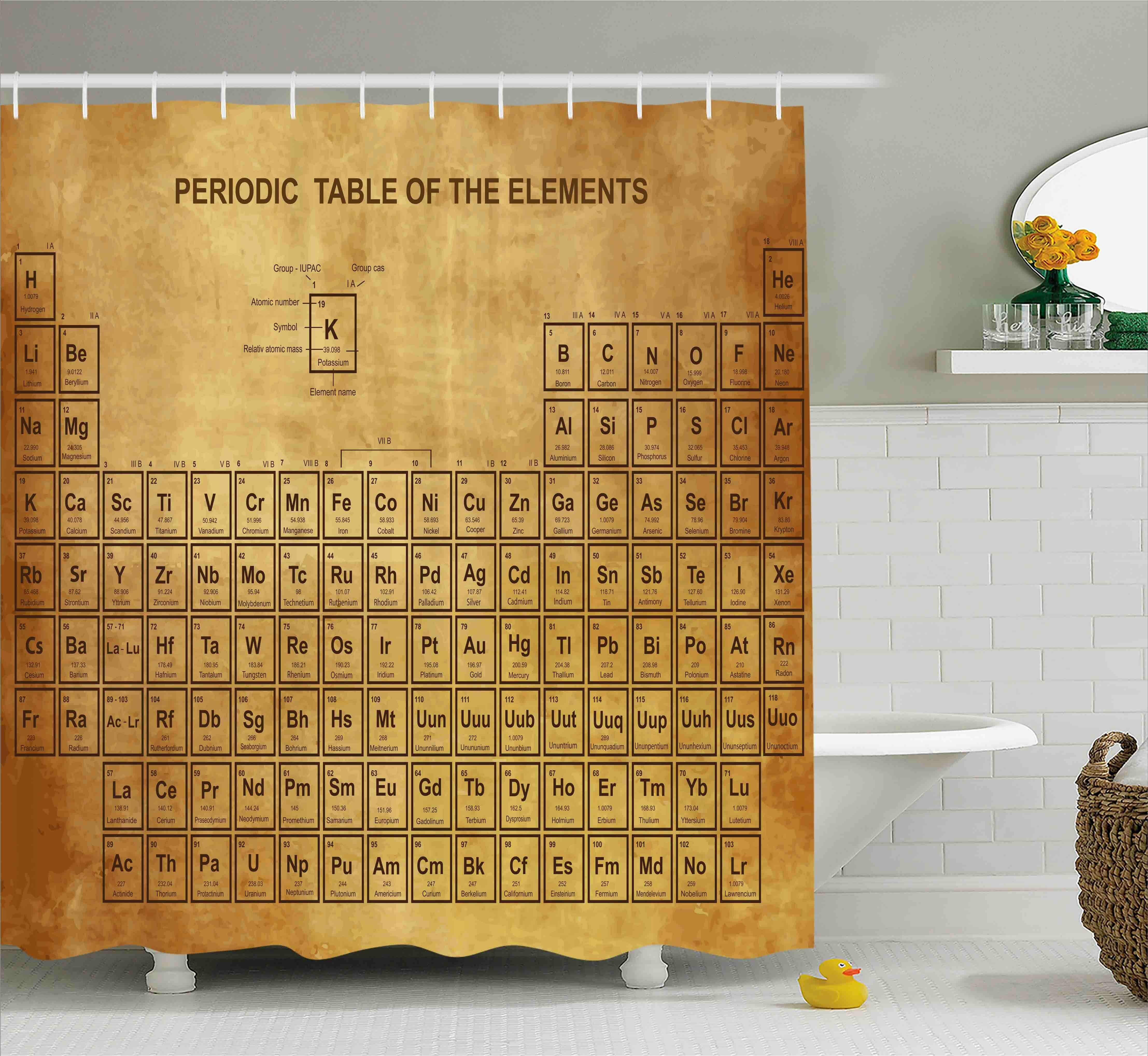 Latitude Run Bahari Science Elements Chemistry Table Vintage Old Design For Scientists Student Print Shower Curtain