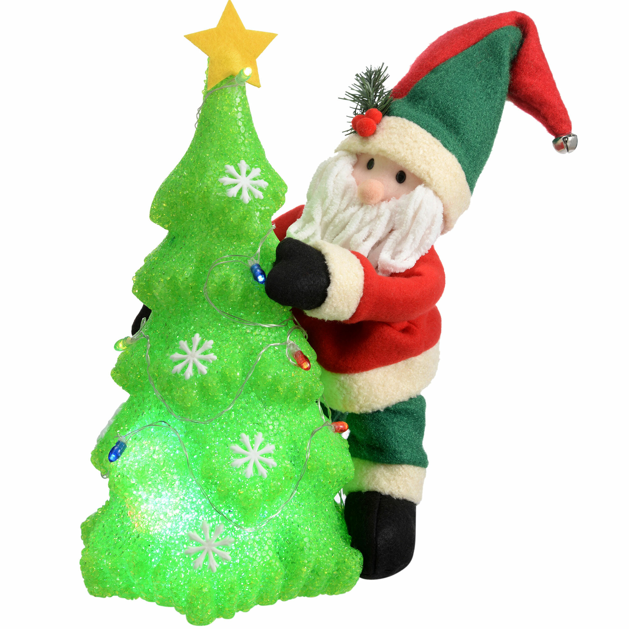 The Seasonal Aisle Santa Christmas Tree Decoration with Colour ...