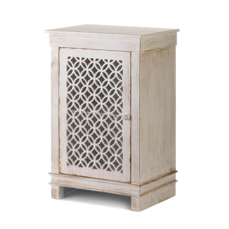 Ardilla Geometric Cutwork Distressed 1 Door Accent Cabinet