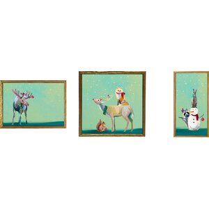 Holiday Animals in the Snow by Cathy Walters 3 Piece Framed Painting Print on Canvas Set (Set of 3)