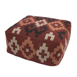 Bourgoin Cotton and Polyester Pouf Ottoman b..