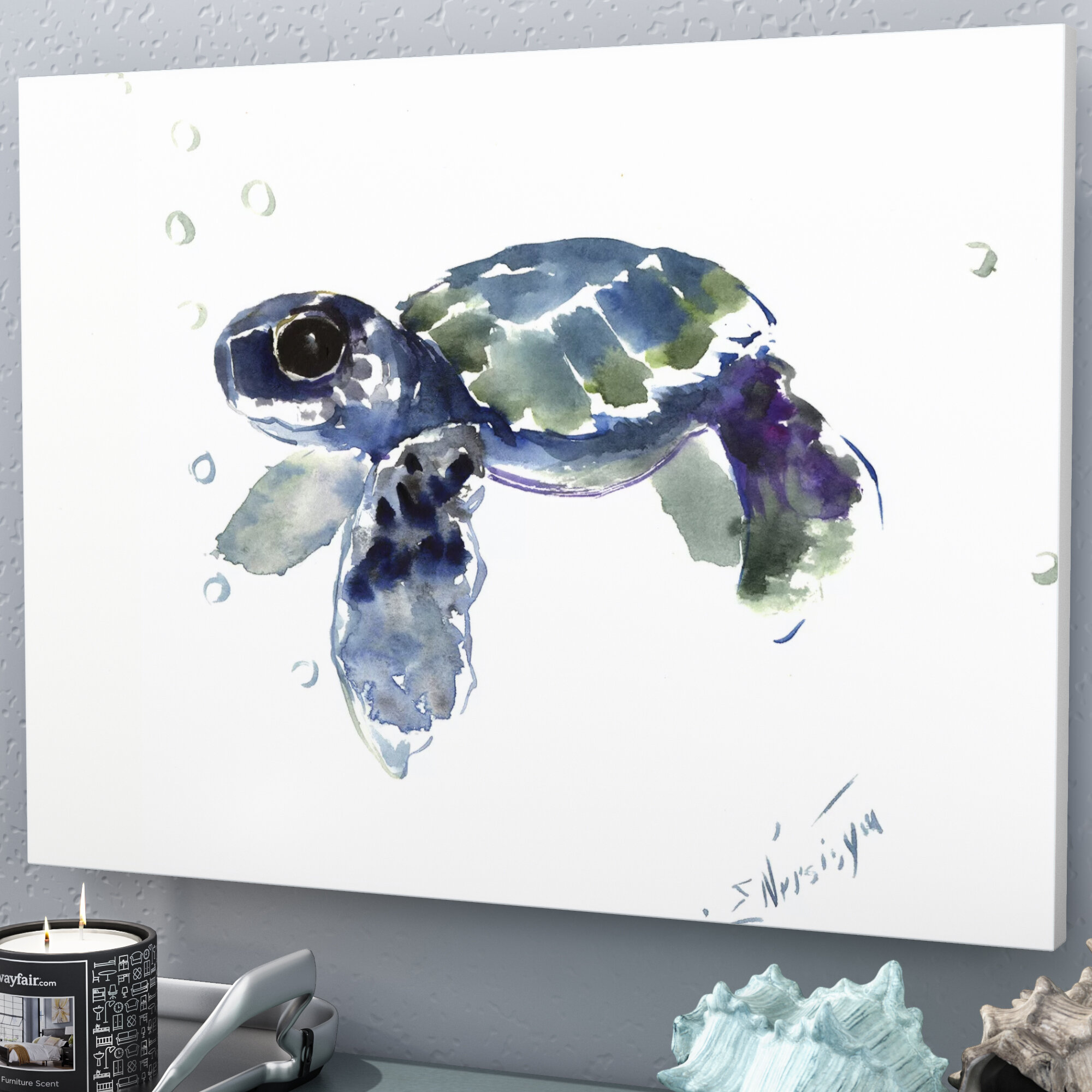East Urban Home \'Babe Sea Turtle\' Watercolor Painting Print ...