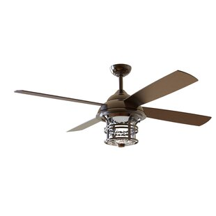 Outdoor ceiling fans youll love wayfair 56 concetta 4 blade outdoor ceiling fan with remote aloadofball Gallery