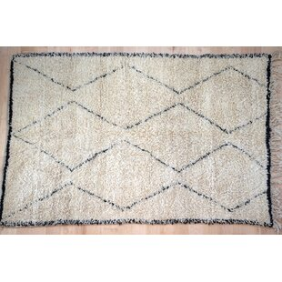 One-Of-A-Kind Moroccan Beni Ouarain Hand-Woven 5'8 x 8'3 Wool Off White Area Rug Isabelline