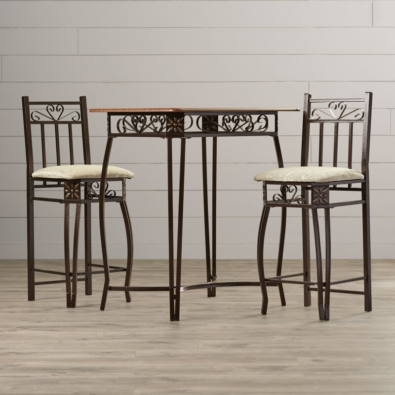 3 Piece Counter Height Pub Table Set & August Grove 3 Piece Counter Height Pub Table Set \u0026 Reviews | Wayfair