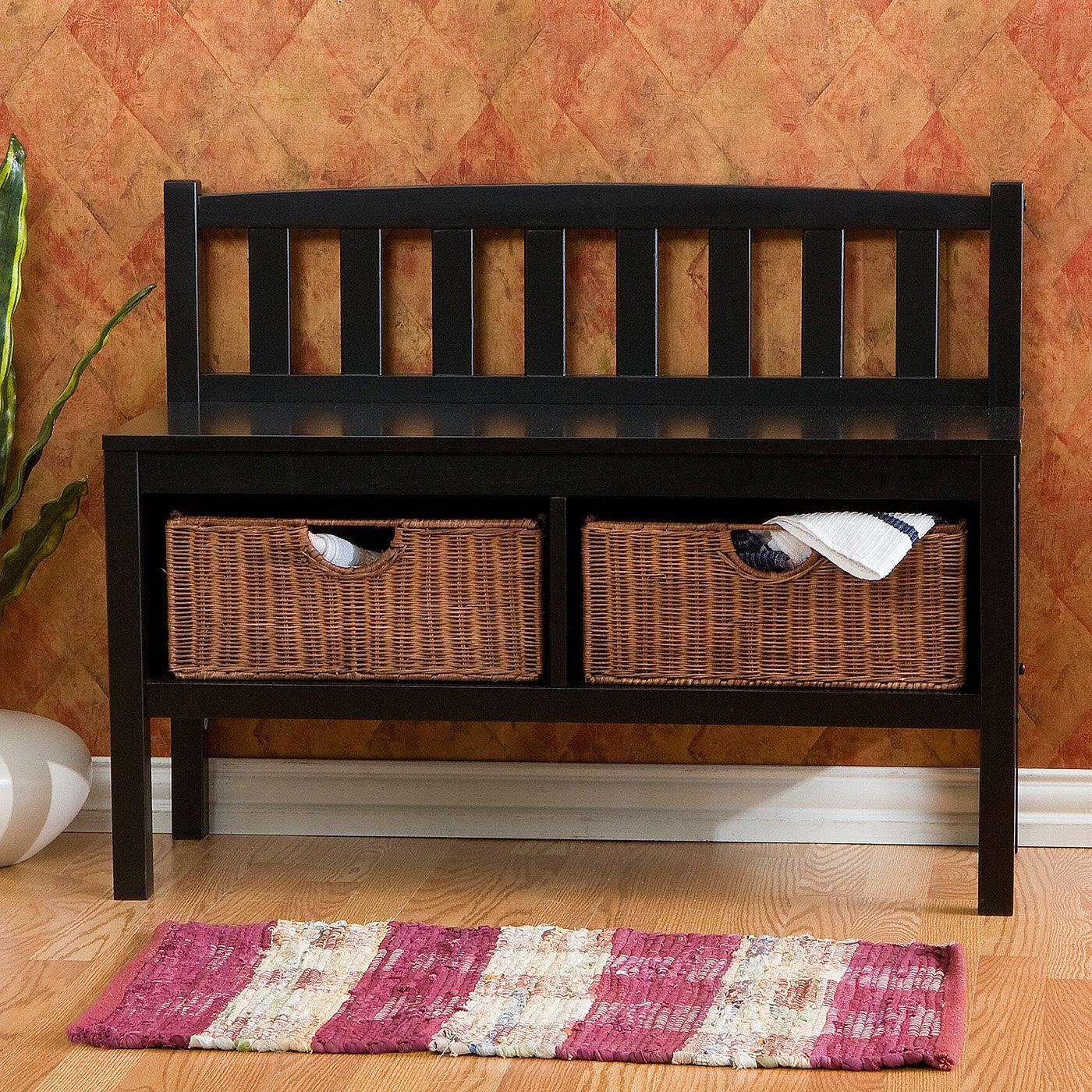Beau Beachcrest Home Offerman Wood Storage Bench With Rattan Baskets U0026 Reviews    Wayfair