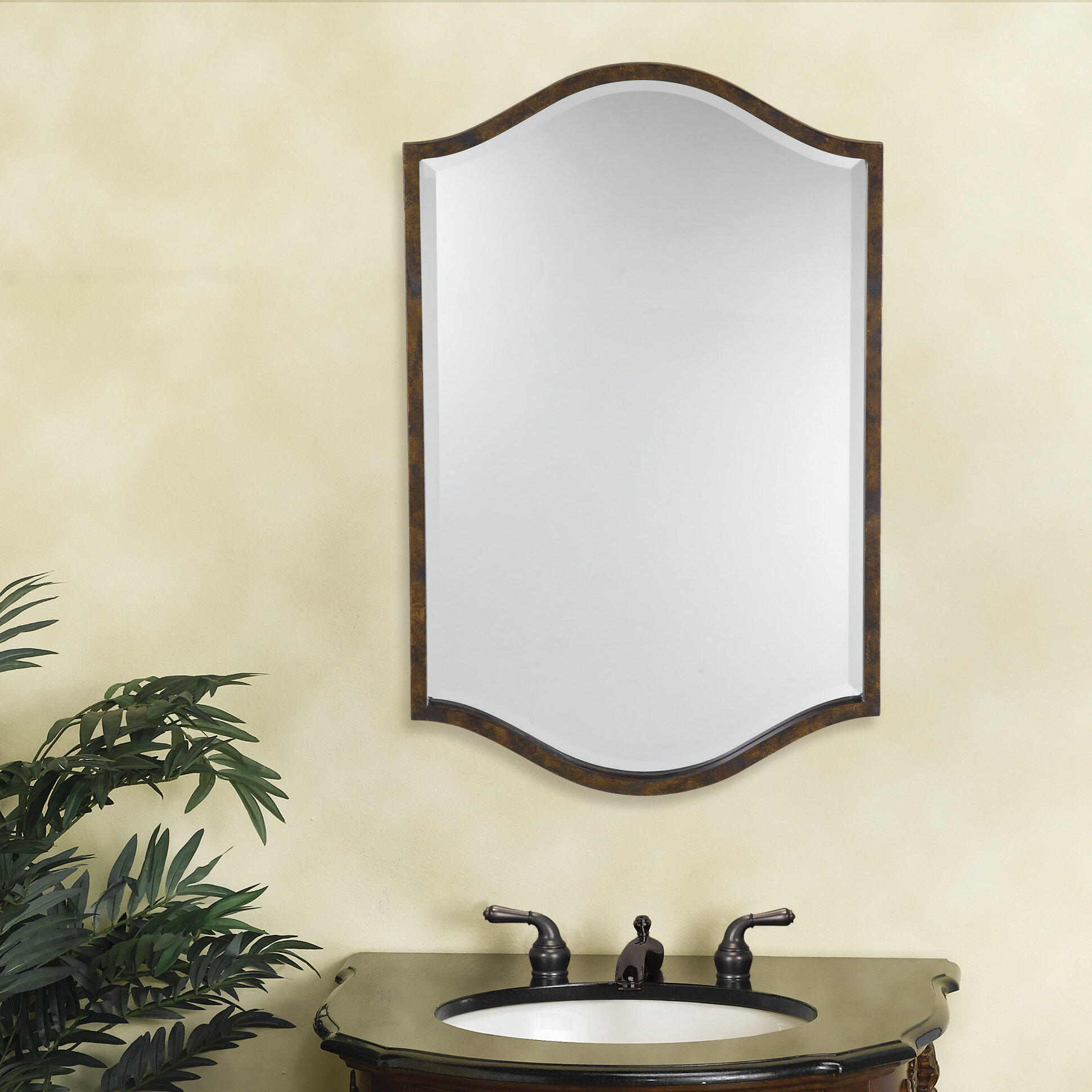 Fleur De Lis Living Linda Walnut Plastic Frame Mirror | Wayfair