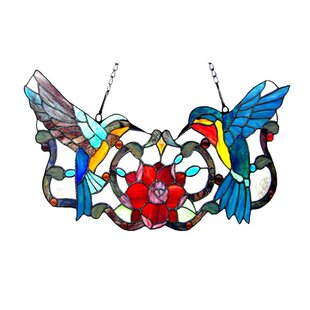 82cd0f3755af Hummingbird Floral Tiffany Style Stained Glass Window Panel