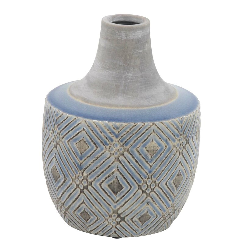Bungalow Rose Cessal Traditional Stout Geometric Weave Table Vase