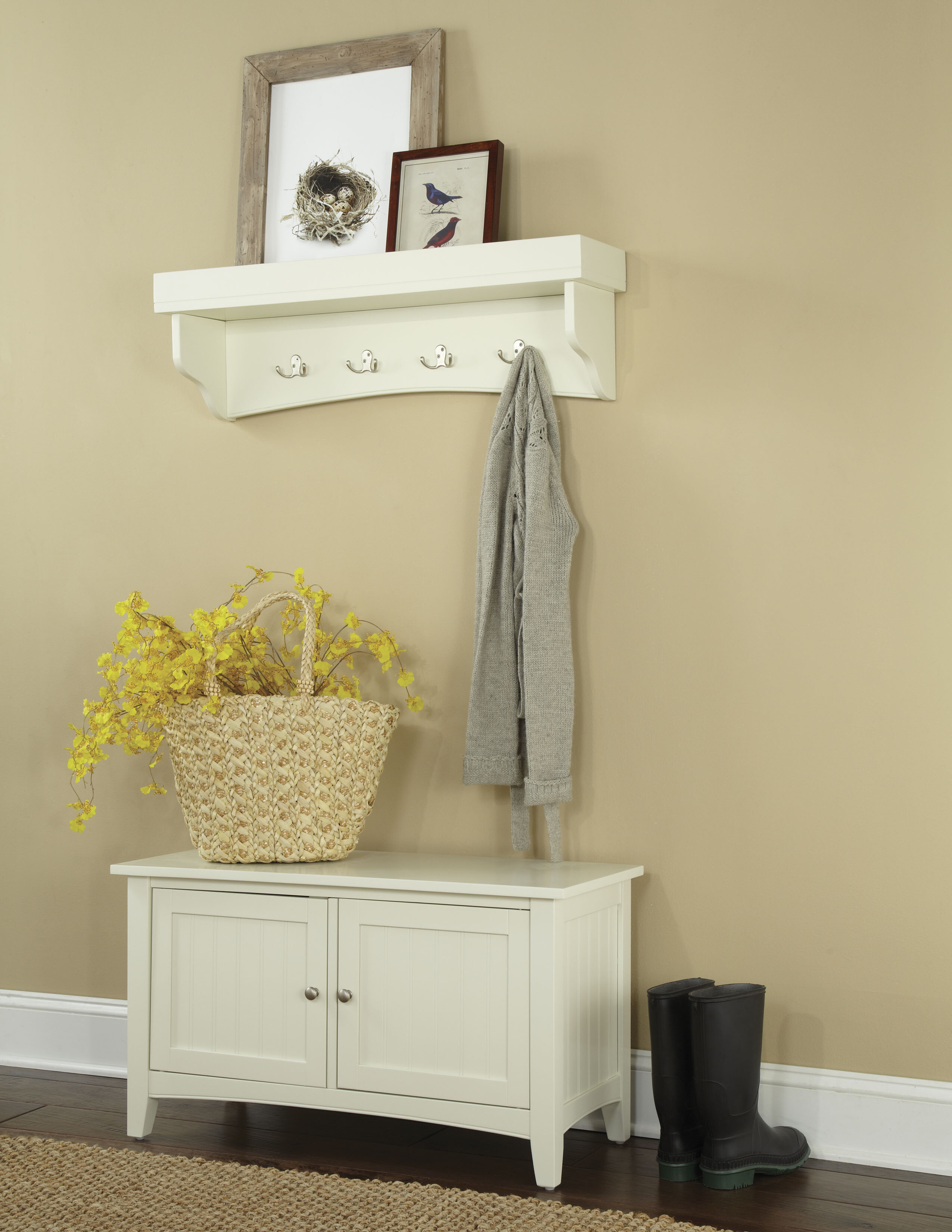 Alcott Hill Bel Air 2 Piece Hall Tree Coat Hook and Cabinet Set ...