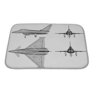 Aircraft Fighter Plane Model, Body Structure, Wire Model Bath Rug