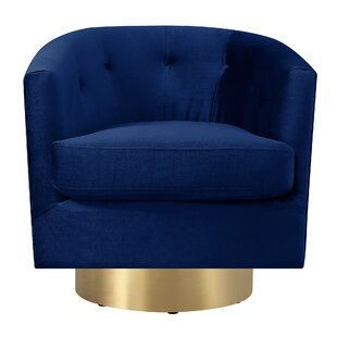 Merveilleux Navy Blue Velvet Swivel Chair | Wayfair