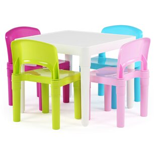 Kidsu0027 5 Piece Square Table And Chair Set