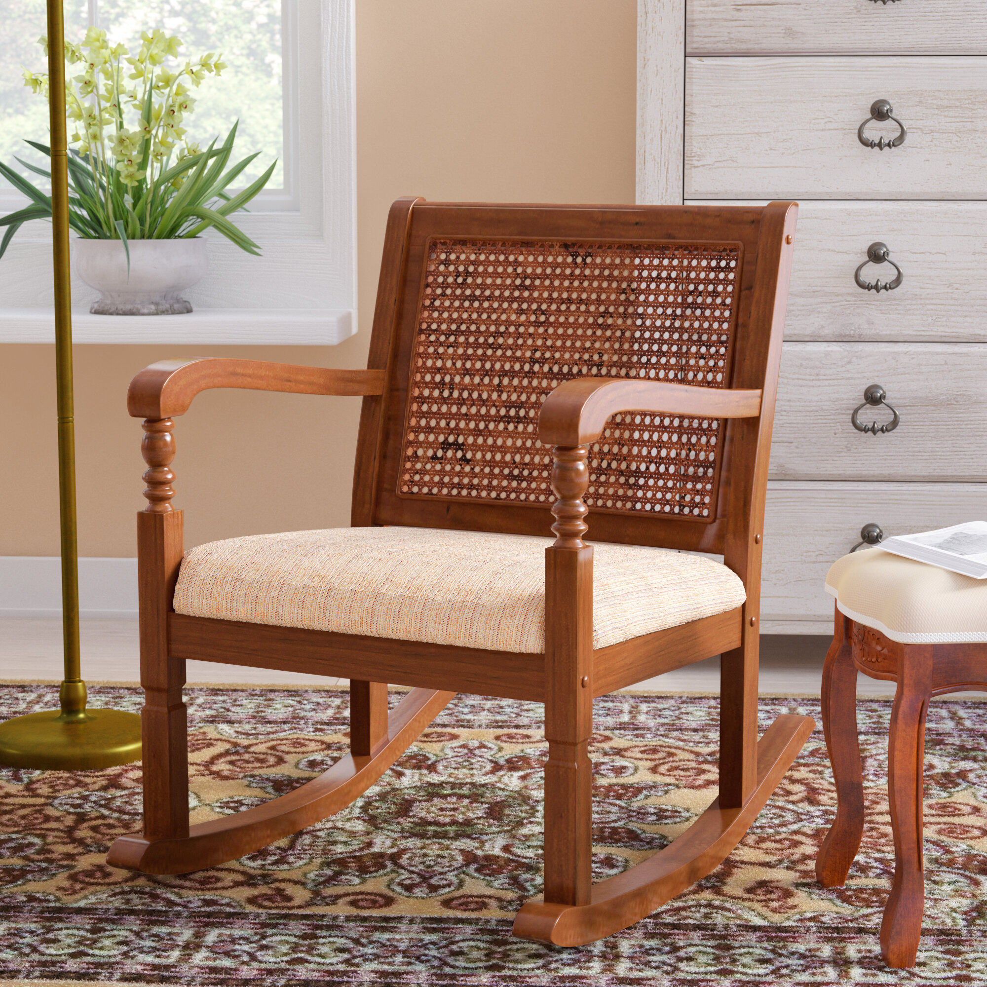 Three Posts Douglass Solid Pine Wood Rocking Chair with Fabric Seat u0026 Reviews | Wayfair & Three Posts Douglass Solid Pine Wood Rocking Chair with Fabric Seat ...