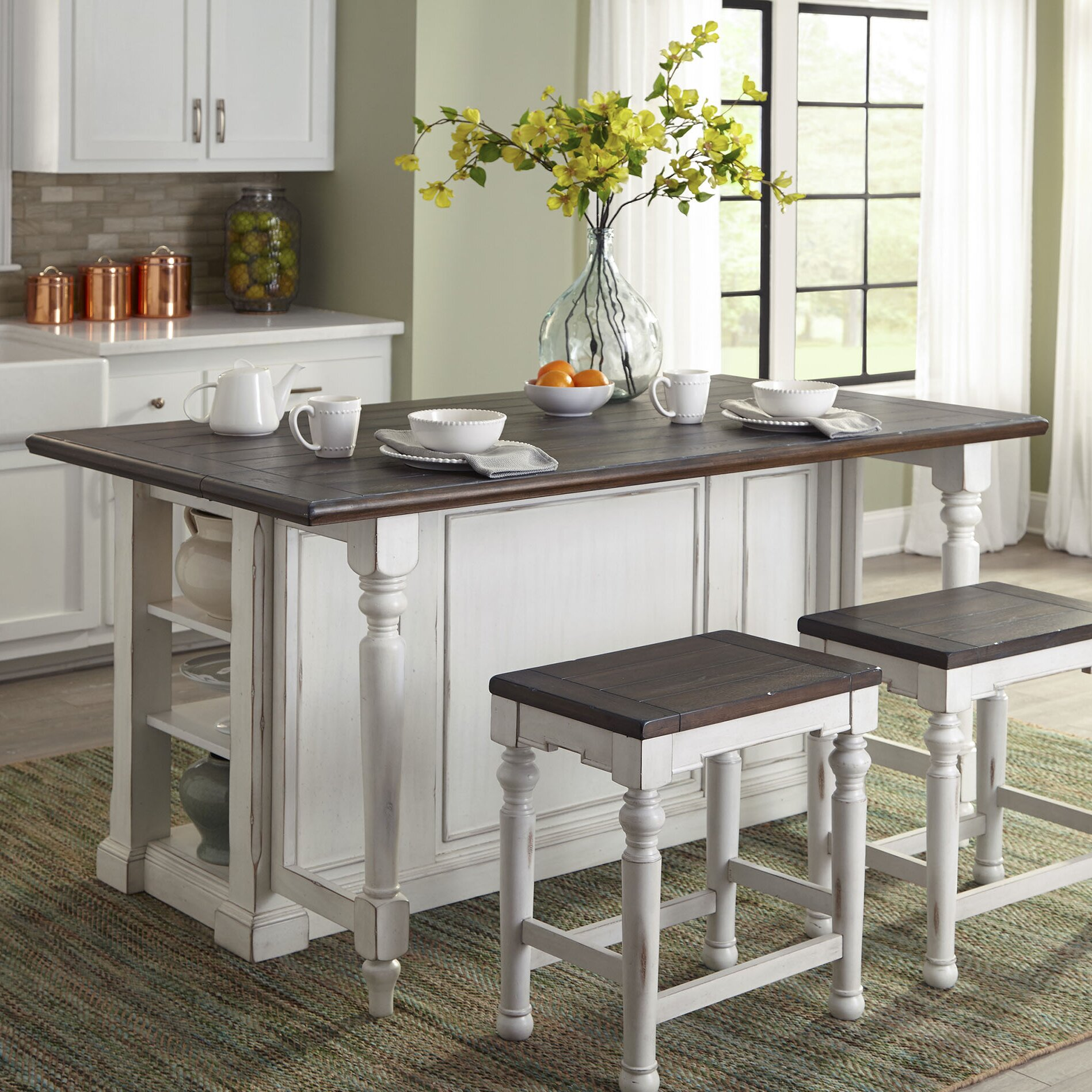 wood kitchen islands august grove kitchen island with wood top amp reviews 1145