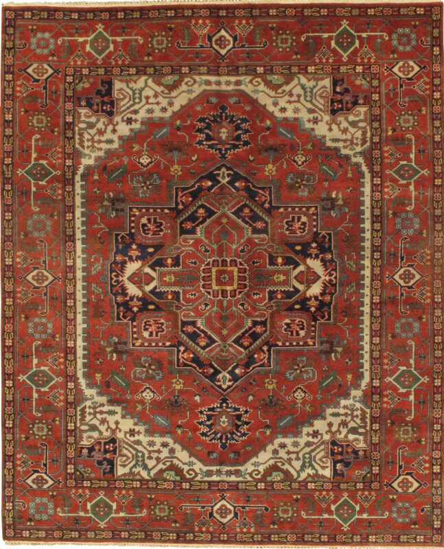Pasargad NY Indian Hand-Knotted Wool Rust Area Rug
