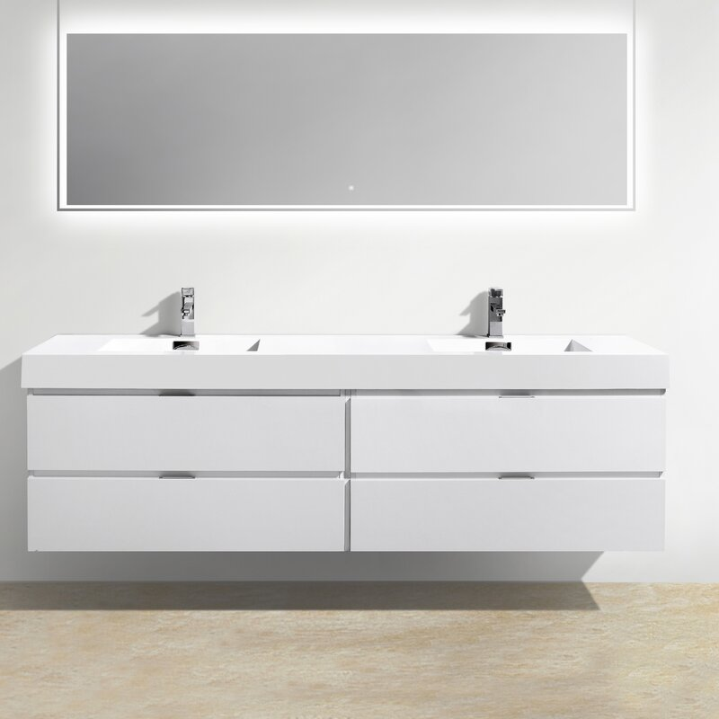 "wade logan tenafly wood 80"" double modern bathroom vanity set"