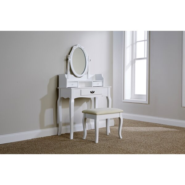 Lily Manor Lucy Dressing Table Set With Mirror Amp Reviews