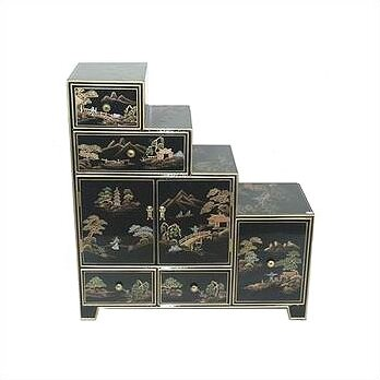 Chinese Step Tansu Accent Cabinet