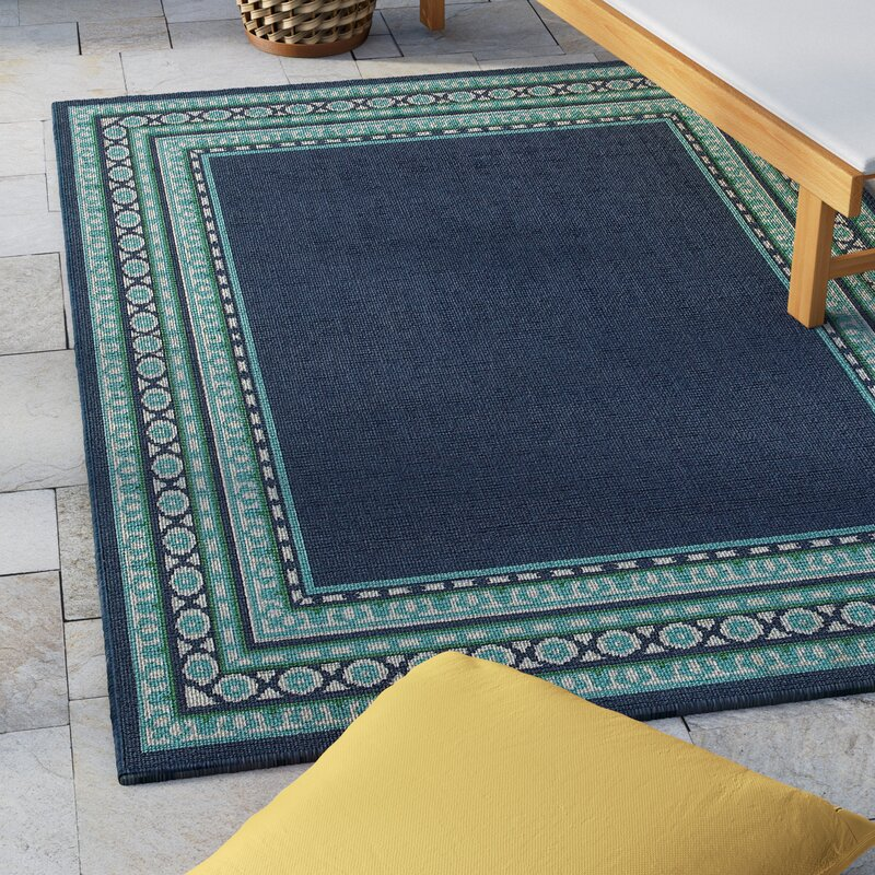 Beachcrest Home Kailani Navy Green Indoor Outdoor Area Rug