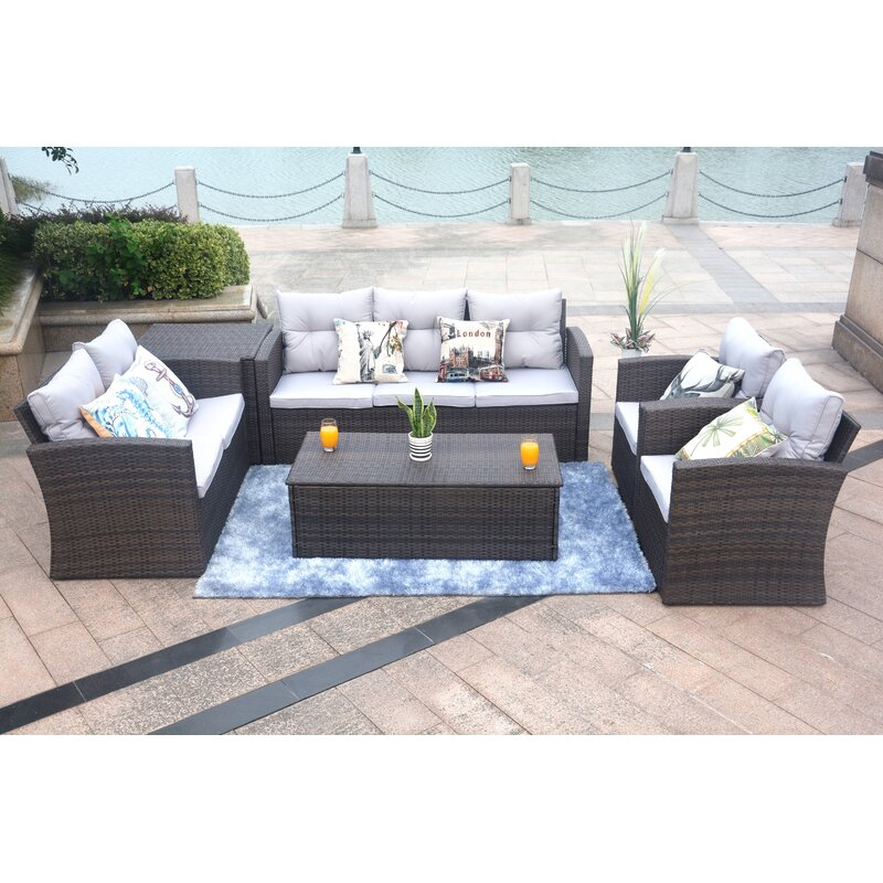 Baptist 6 Piece Rattan Sofa Set With Cushions Reviews Joss Main