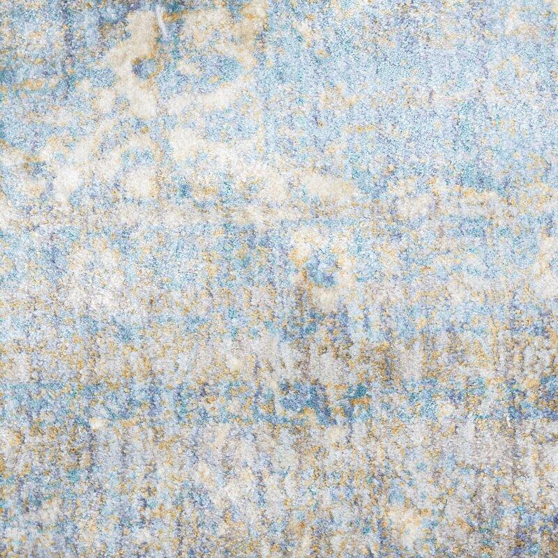 Birch Lane™ Jonas Teal Blue/Mustard Beige Area Rug