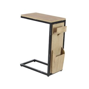 Baleine Modern Fir Wood and Iron C-Shaped Multipurpose End Table by Loon P..