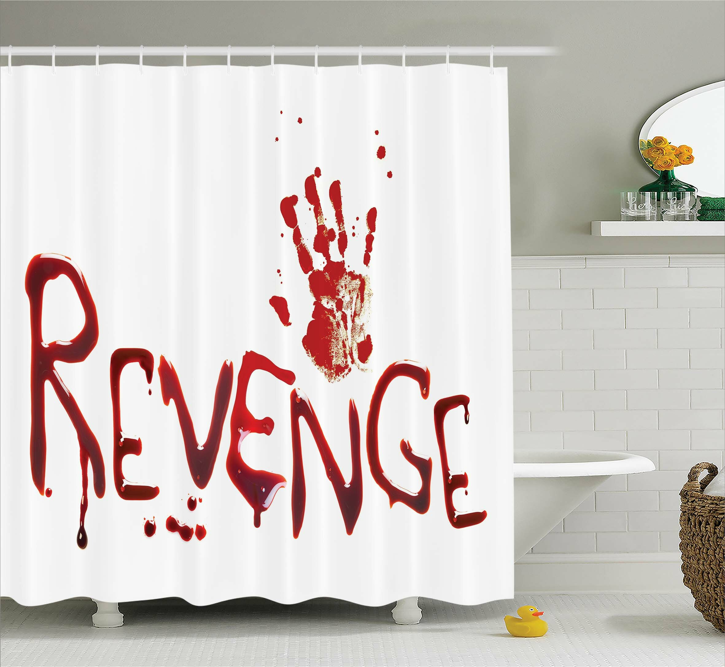 Ambesonne Bloody Handprint With Blood Shower Curtain