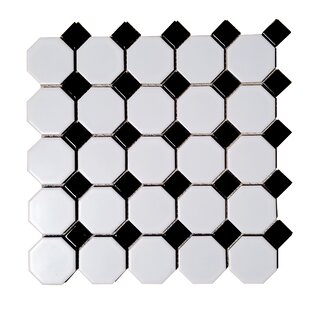 Monet Dot Hexagon Random Sized Porcelain Mosaic Tile In Black White