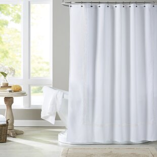 long repellent with ruffles getmojito water fabric shower inches white hookless embroidered off liner in or curtains curtain