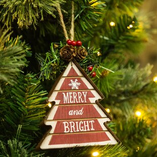 merry and bright wooden and iron tree shaped ornament