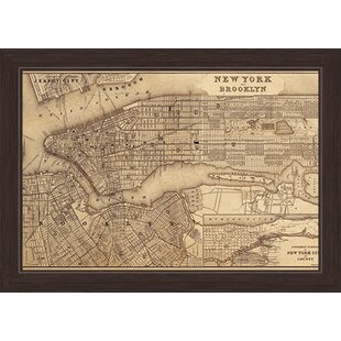 U0027Map Of New York And Brooklynu0027 Framed Graphic Art