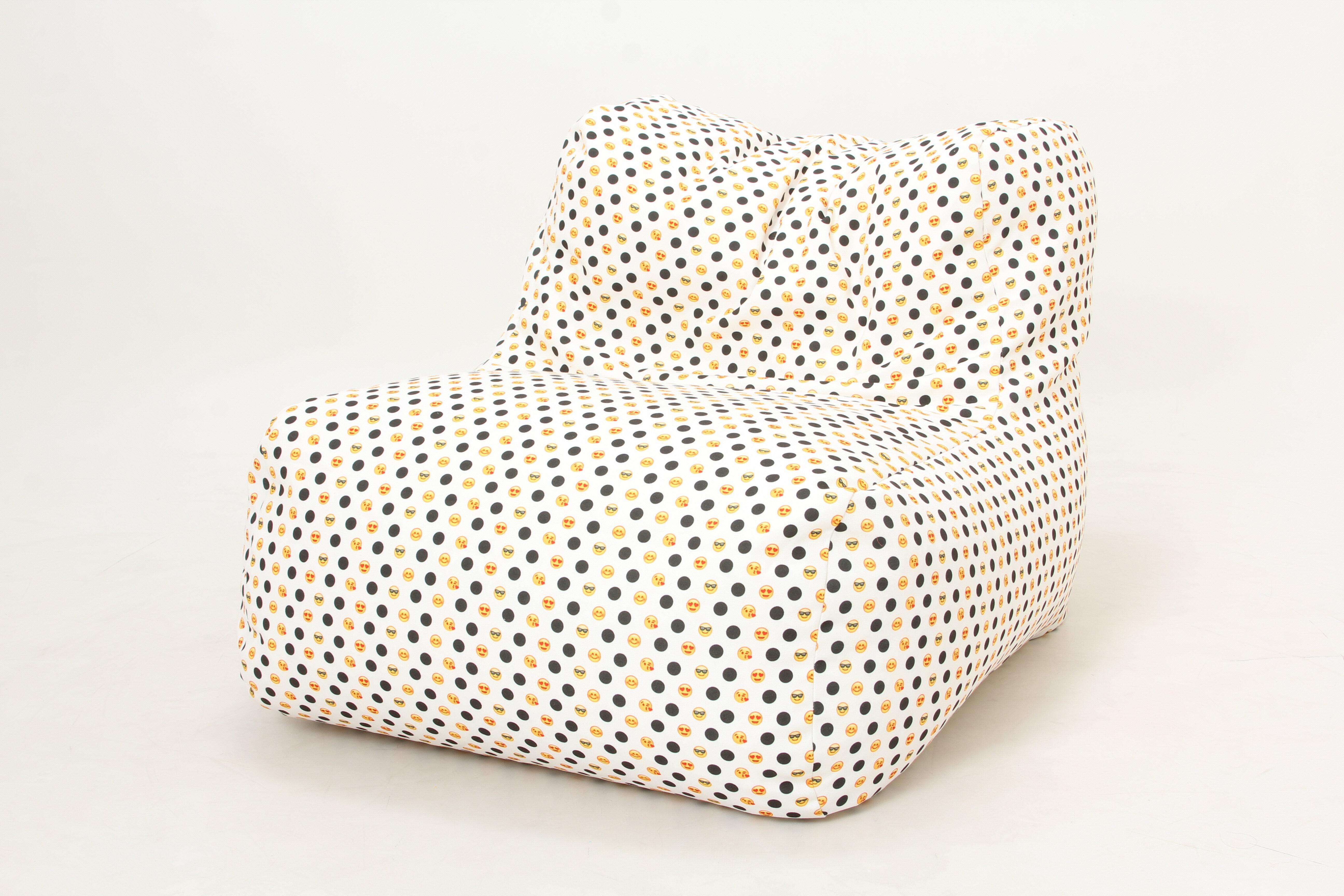 Wow Works LLC Emoji And Polka Dots Bean Bag Chair | Wayfair