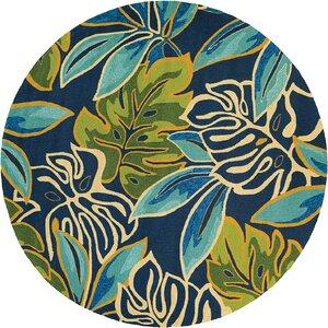 Mariann Areca Palms Hand-Woven Azure/Green Indoor/Outdoor Area Rug