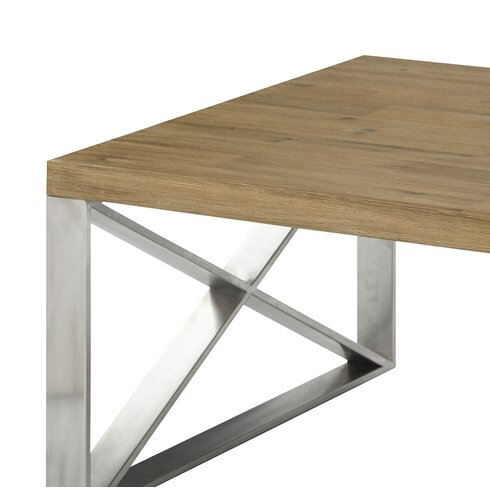 Superbe Rempe Stainless Steel Distressed Wood Coffee Table