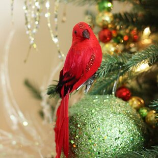 long tailed clip on bird christmas ornament accessory with glitter accent set of 2 - Bird Ornaments For Christmas Tree
