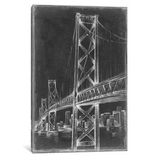 Frameless bridge canvas art wayfair suspension bridge blueprint ii graphic art print on canvas malvernweather Choice Image