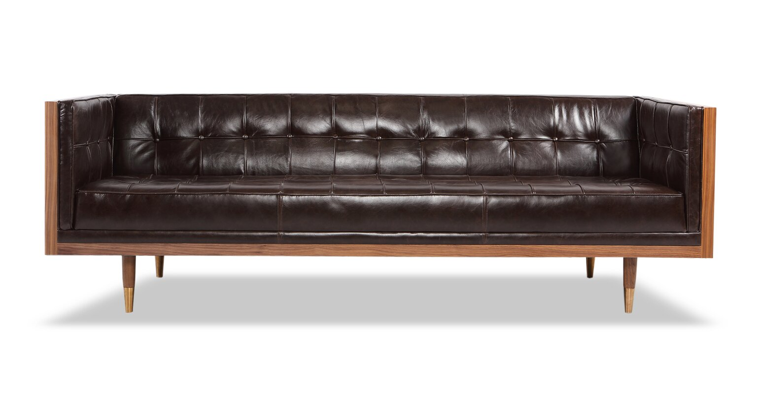 Genial Carey Mid Century Modern Box Leather Sofa