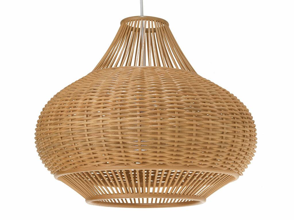 Wicker pear 1 light globe pendant