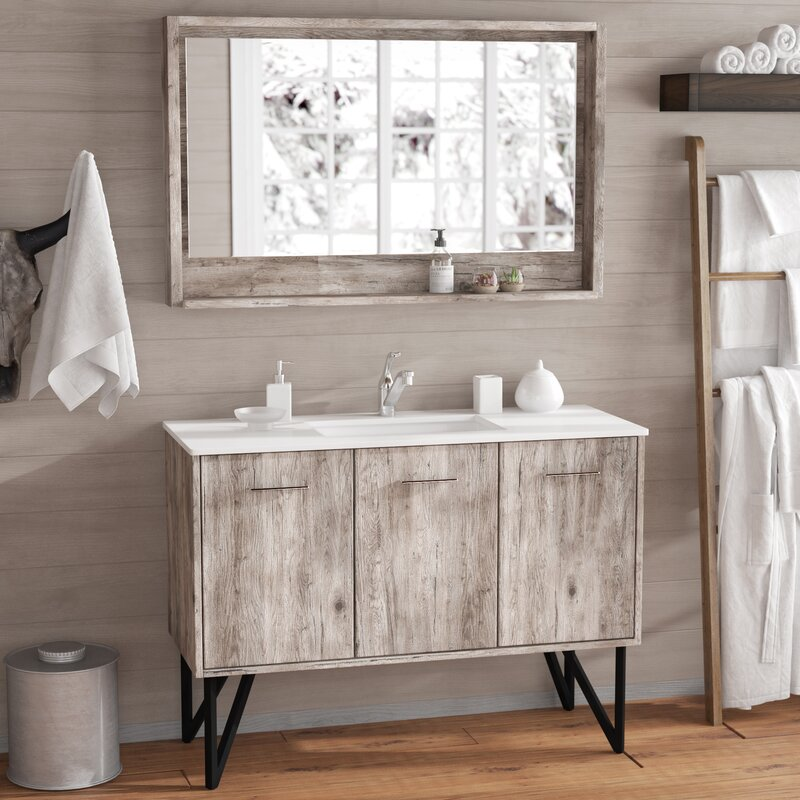 "Rustic Bathroom Vanity Set: Union Rustic Ellison Nature Wood 47"" Single Bathroom"