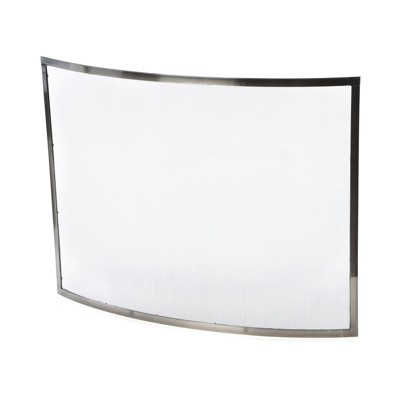 Fireplace Design glass fireplace screen : Uniflame Single Panel Curved Pewter Fireplace Screen & Reviews ...