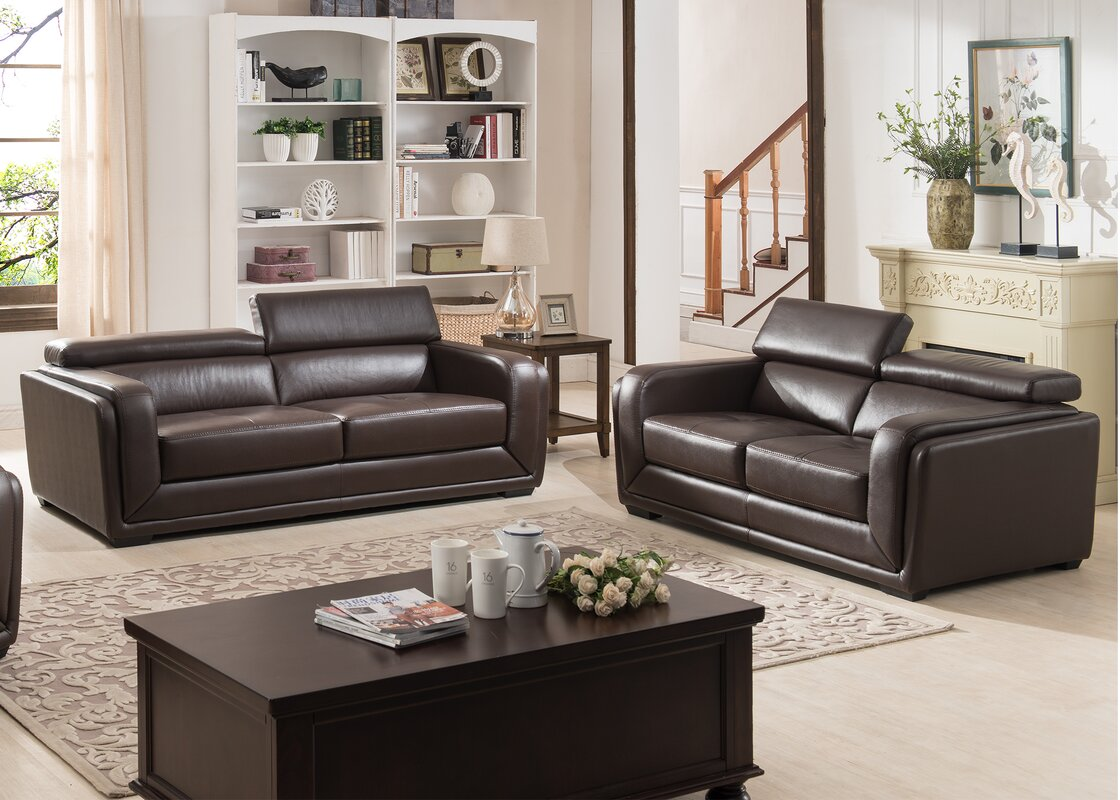 AC Pacific Calvin Modern 2 Piece Leather Living Room Set & Reviews ...