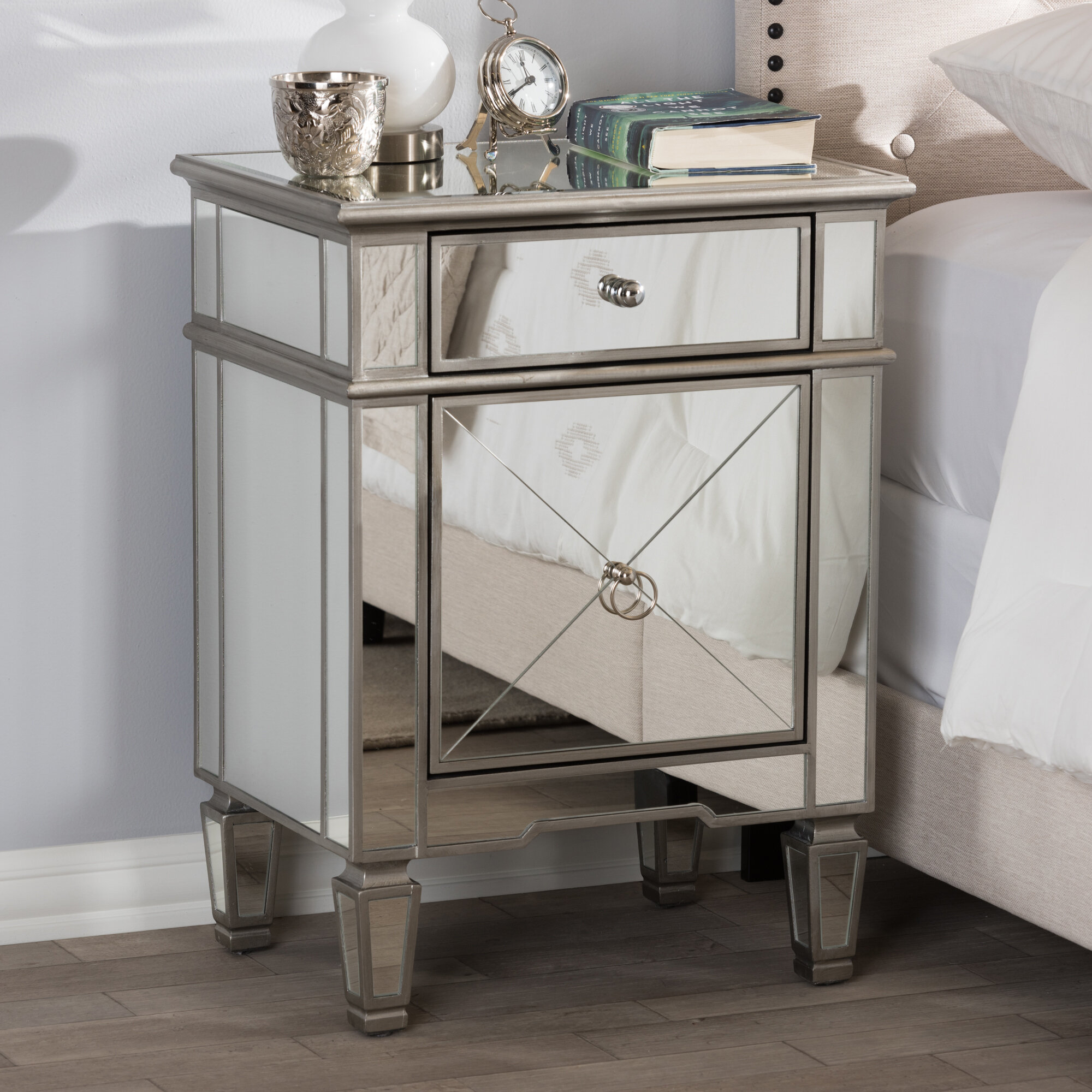 House Of Hampton Beglin Hollywood Regency Mirrored 1 Drawer Nightstand Reviews Wayfair