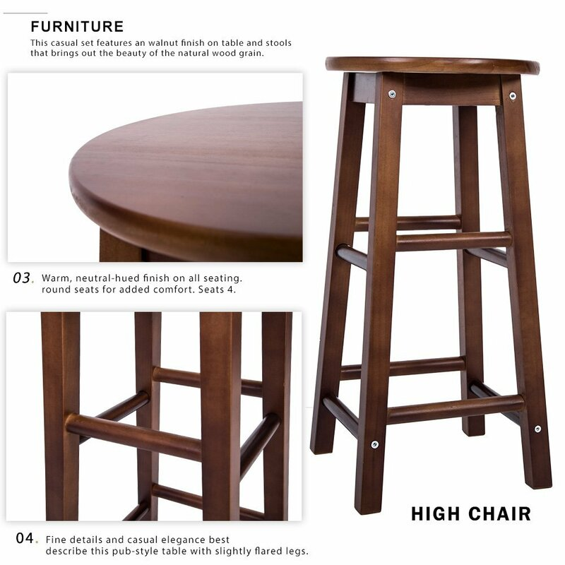 lifestyle dc192 5 piece pub table set with ladder back pub c