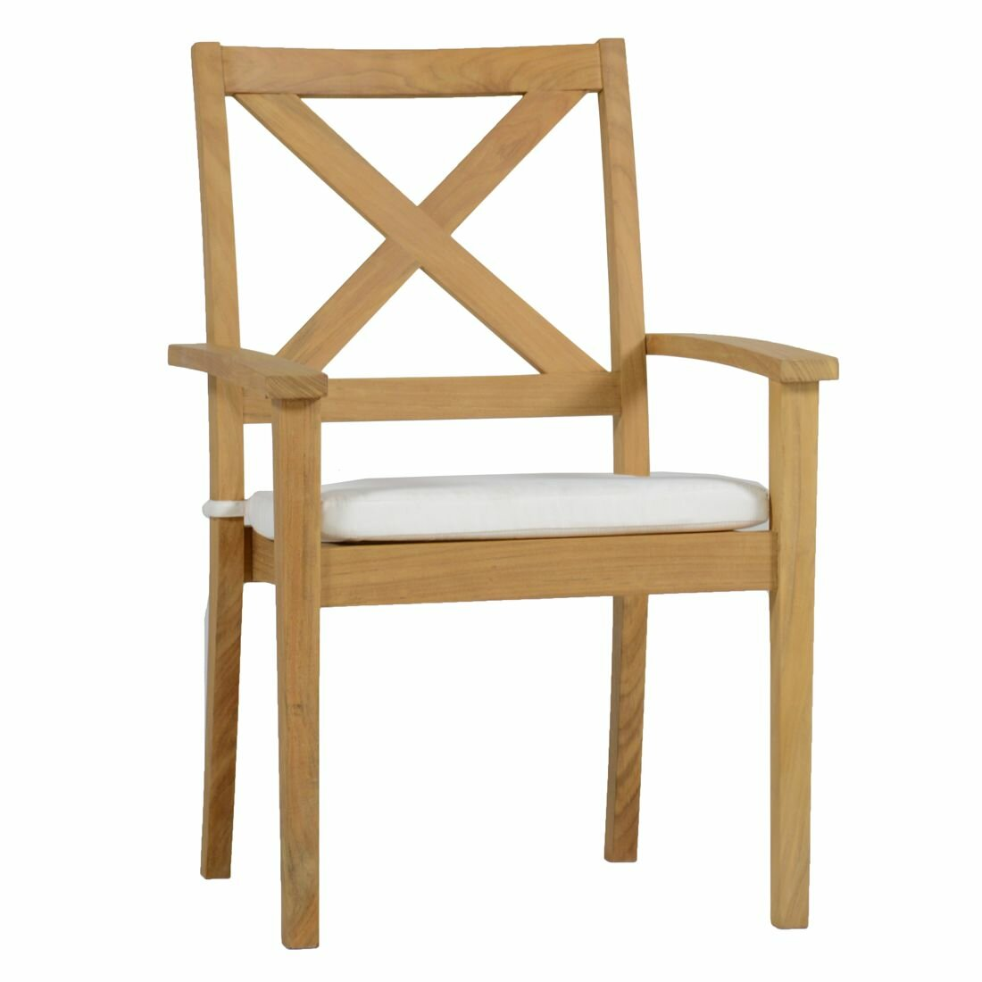 summer classics drake x back teak stacking patio dining chair with