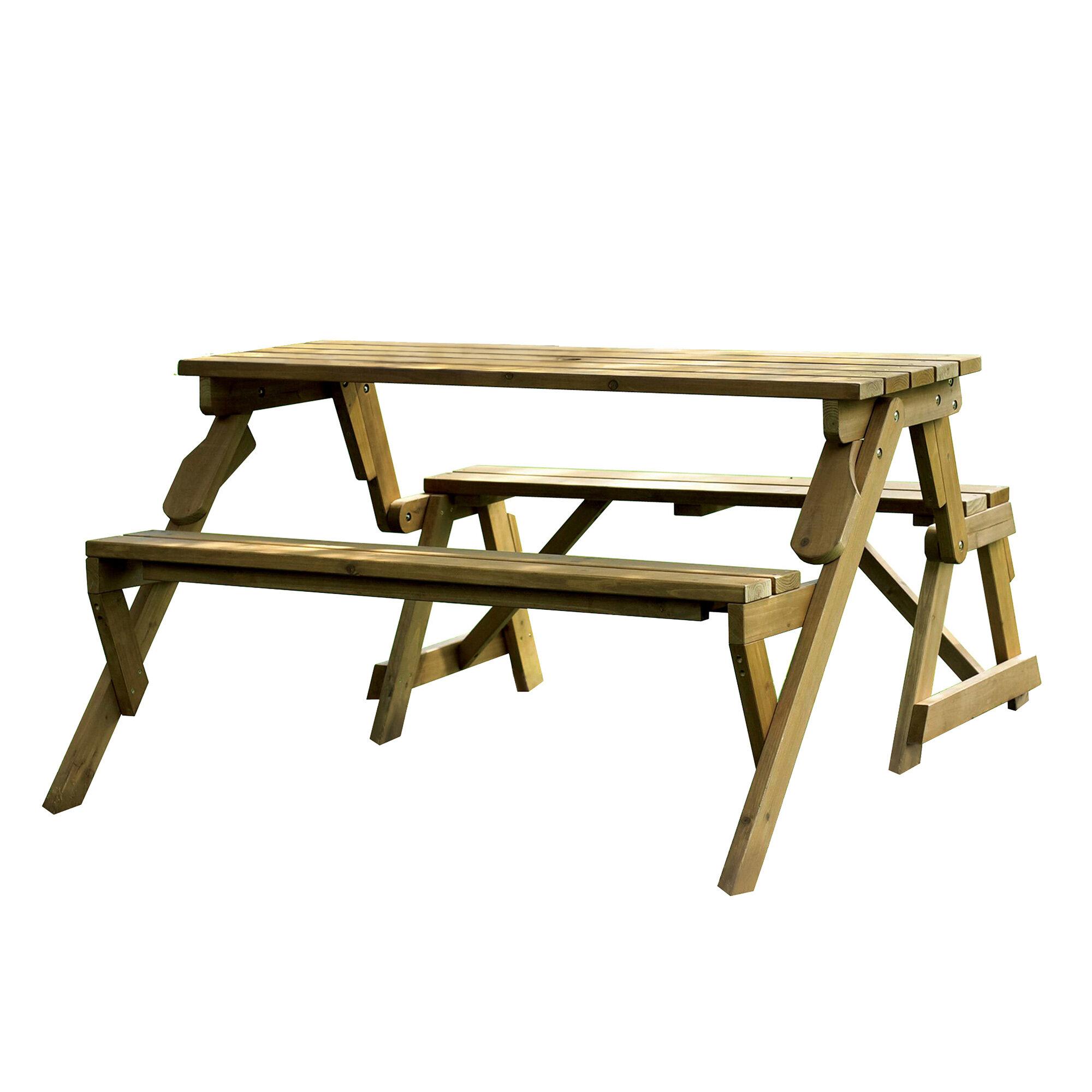 Dreiling Convertible Wood Picnic Table Garden Bench Reviews Joss Main