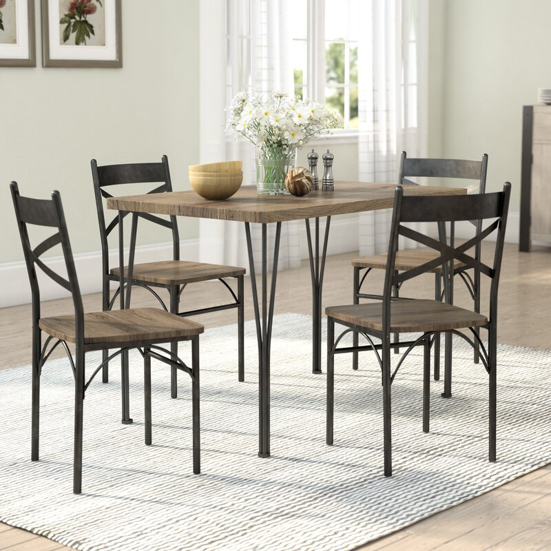 Farm Style Dining Set: Laurel Foundry Modern Farmhouse Sagers 5 Piece Industrial