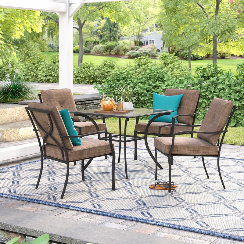 6c9619fdd1b Andover Mills Keensburg 5 Piece Dining Set with Cushions   Reviews ...