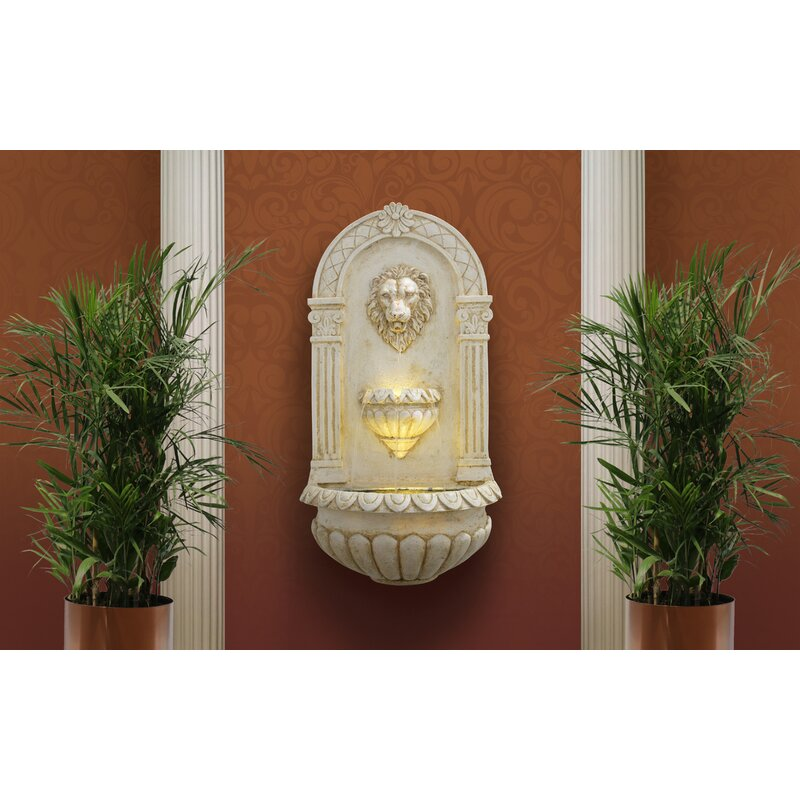 Alpine Lion Head Wall Fountain with LED Light